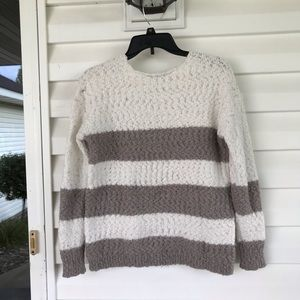 Knox Rose Sweaters - 3 for $15 White and Gray Striped Sweater